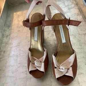 Cynthia Vincent Metallic Leather Wedges